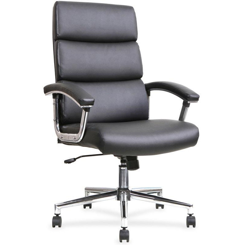 Beautiful Lorell Lorell Executive High Back Office Chair With Padded Arms   Black  Leather LLR20018 | Bizchair.com