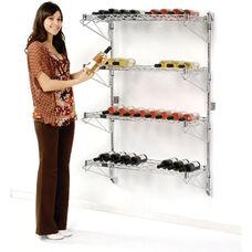 Chrome Single Wide Wall Mount Wine Rack - 9 Bottle Capacity - 14