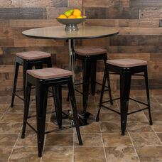 """24"""" High Metal Counter-Height, Indoor Bar Stool with Wood Seat in Black - Stackable Set of 4"""