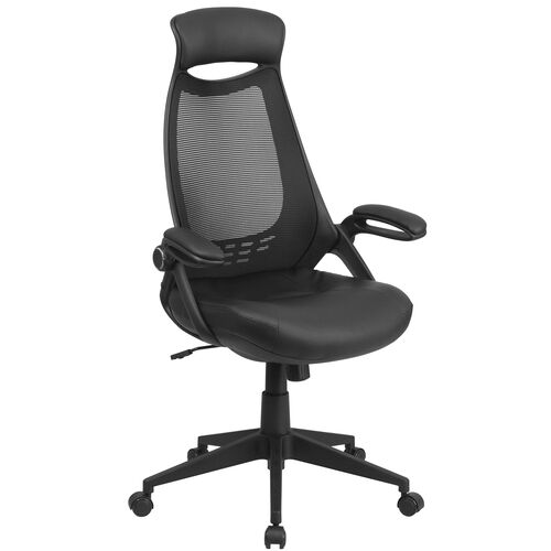 Our High Back Black Mesh Executive Swivel Office Chair with Leather Seat and Flip-Up Arms is on sale now.