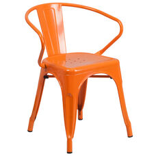 Commercial Grade Orange Metal Indoor-Outdoor Chair with Arms