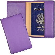 Plain Passport Holder and Travel Document Organizer - Genuine Leather - Purple