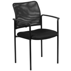 Comfort Black Mesh Stackable Steel Side Chair with Arms