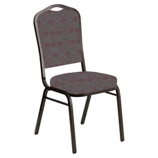 Crown Back Banquet Chair in Galaxy Taupe Fabric - Gold Vein Frame