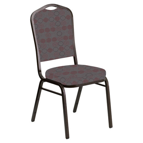 Our Crown Back Banquet Chair in Galaxy Taupe Fabric - Gold Vein Frame is on sale now.