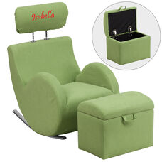 Personalized HERCULES Series Green Fabric Rocking Chair with Storage Ottoman
