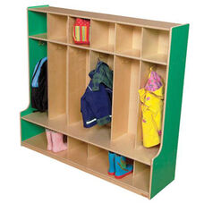 Green Apple 6-Section Seat Locker with Two Coat Hooks in Each Section - Assembled - 54