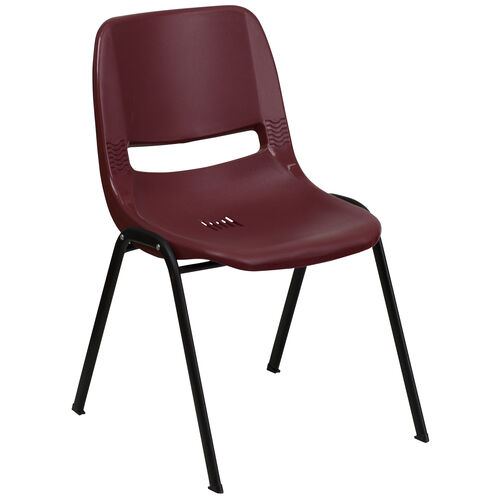 Our HERCULES Series 880 lb. Capacity Burgundy Ergonomic Shell Stack Chair with Black Frame is on sale now.