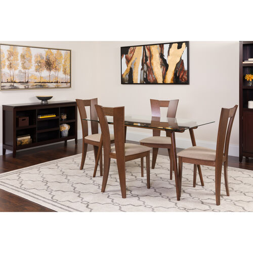 Our Parlier 5 Piece Walnut Wood Dining Table Set With Gl Top And Slotted Back