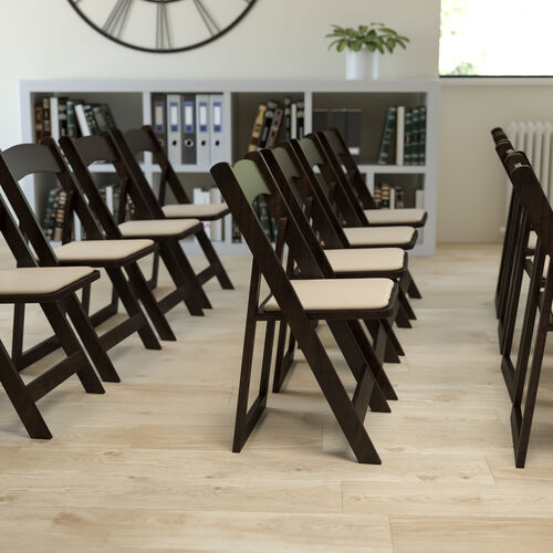 HERCULES Series Chocolate Wood Folding Chair with Vinyl Padded Seat