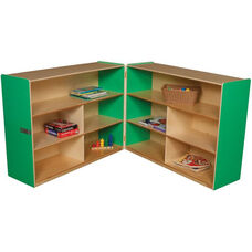 Wooden 10 Compartment Double Folding Mobile Storage Unit - Green Apple - 96