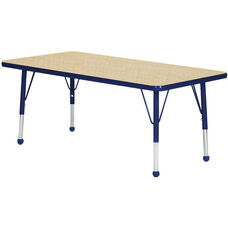 Adjustable Standard Height Laminate Top Rectangular Activity Table - Maple Top with Navy Edge and Legs - 60