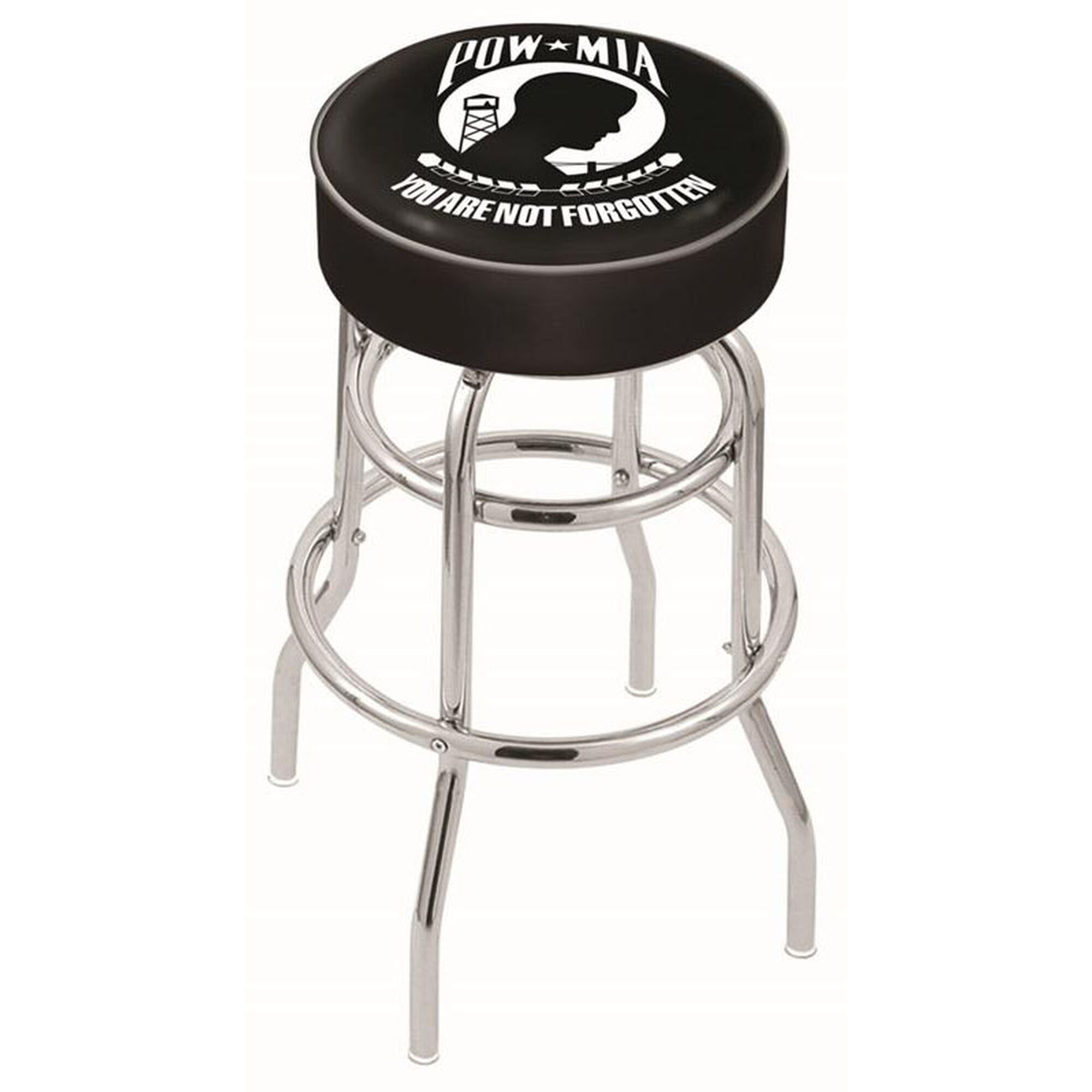 Astonishing Pow Mia 25 Chrome Finish Double Ring Swivel Backless Counter Height Stool With 4 Thick Seat Machost Co Dining Chair Design Ideas Machostcouk