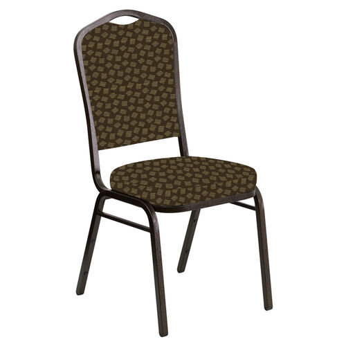 Embroidered Crown Back Banquet Chair in Scatter Crocodile Fabric - Gold Vein Frame