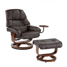 Bonded Leather Swivel Recliner with Movable Side Table and Ottoman - Cafe Brown