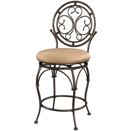 Big and Tall Scroll Circle Back Counter Stool - Dark Copper and Sand Fabric