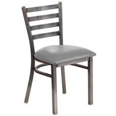 HERCULES Series Clear Coated Ladder Back Metal Restaurant Chair - Custom Upholstered Seat