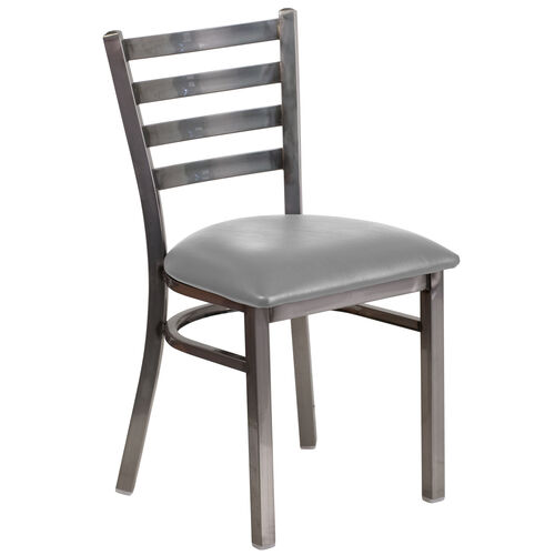 Our Clear Coated Ladder Back Metal Restaurant Chair with Custom Upholstered Seat is on sale now.