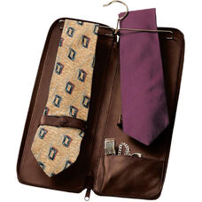 Deluxe Travel Tie Case with Cufflink Storage - Top Grain Nappa Leather - Coco