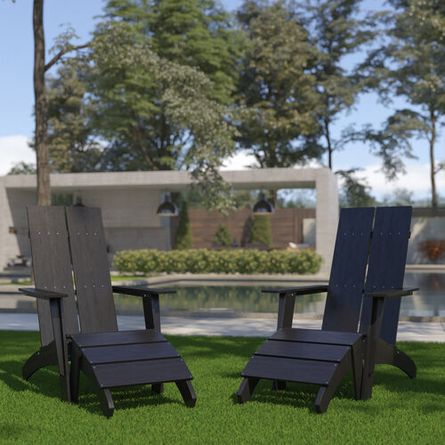 Set of 2 Sawyer Modern All-Weather Poly Resin Wood Adirondack Chairs with Foot Restsin Black