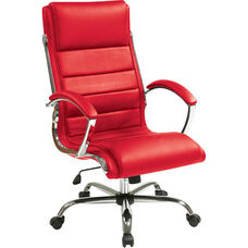 Work Smart Faux Leather Executive Office Chair with Thick Padded Seat - Red