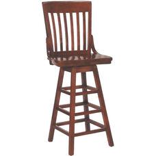 2997 Bar Stool w/ Slat Back & Wood Saddle Seat