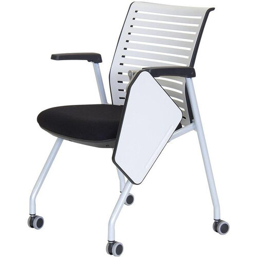 Our Ace Multi Purpose Nesting Chair with Left Handed Writing Table - Black Seat and White Back is on sale now.