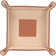 Suede Lined Catchall Valet Tray - Milano Feather-Lite Faux Leather - Tan and Cream
