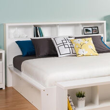 Calla King Size Headboard with 4 Open Storage Compartments - White