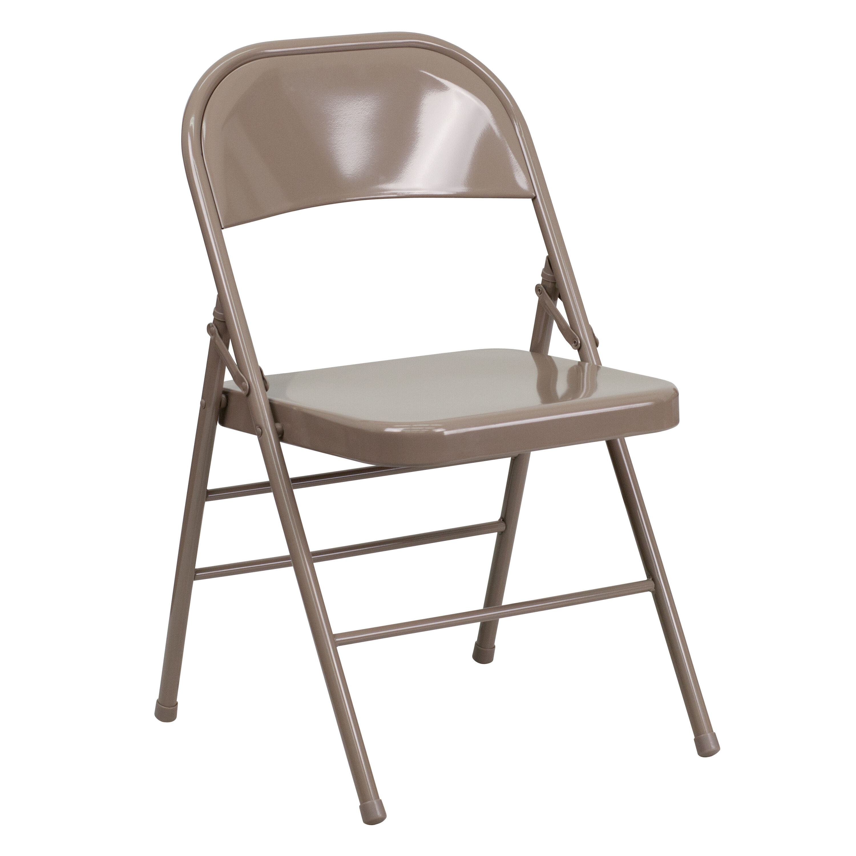 Gentil HERCULES Series Triple Braced U0026 Double Hinged Beige Metal Folding Chair