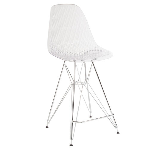 "Our 26"" High Clear Acrylic Counter Height Stool with Chrome Legs is on sale now."