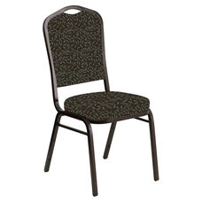 Embroidered Crown Back Banquet Chair in Jasmine Chocaqua Fabric - Gold Vein Frame
