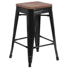 """24"""" High Backless Black Metal Counter Height Stool with Square Wood Seat"""