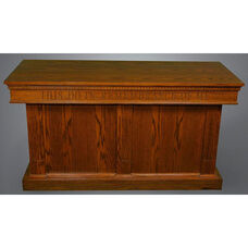 Stained Red Oak Closed Communion Table with Smooth Front Panels