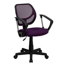 Low Back Purple Mesh Swivel Task Office Chair with Arms