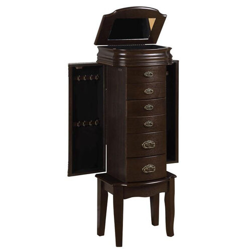 Our Italian Influenced Transitional Jewelry Armoire - Espresso and Black Lining is on sale now.