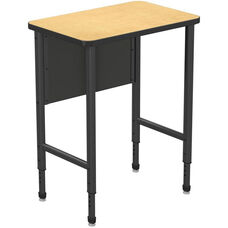 Apex Series Height Adjustable Stand Up Desk with PVC Edge - Fusion Maple Top with Black Edge and Legs - 30