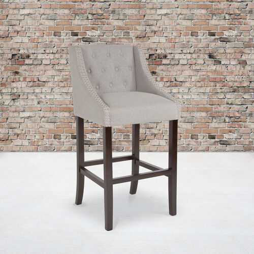 """Carmel Series 30"""" High Transitional Tufted Walnut Barstool with Accent Nail Trim in Light Gray Fabric"""