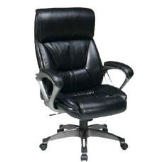 Work Smart ECH89301 Executive Eco Leather Chair with Padded Arms and Cocoa Coated Base - Espresso
