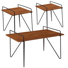 Porter Collection 3 Piece Coffee and End Table Set in Cherry Wood Grain Finish and Black Metal Legs