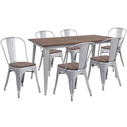 "Our 30.25"" x 60"" Silver Metal Table Set with Wood Top and 6 Stack Chairs is on sale now."