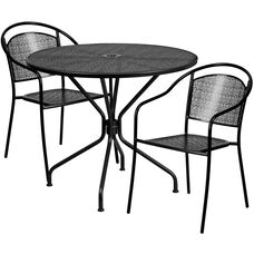 """Commercial Grade 35.25"""" Round Black Indoor-Outdoor Steel Patio Table Set with 2 Round Back Chairs"""
