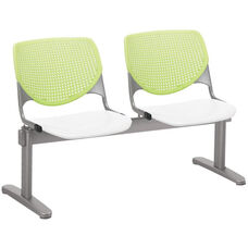 2300 KOOL Series Beam Seating with 2 Poly Lime Green Perforated Back Seats and White Seats