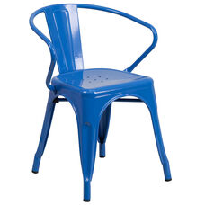 Commercial Grade Blue Metal Indoor-Outdoor Chair with Arms