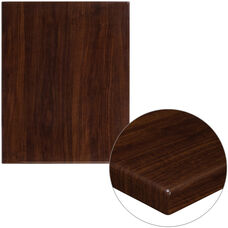 """24"""" x 30"""" Rectangular High-Gloss Walnut Resin Table Top with 2"""" Thick Edge"""