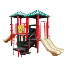 Galvanized Steel Tube Constructed Abby Mega Series Play Center with Thermoplastic Coated Punch Steel Decks - 132