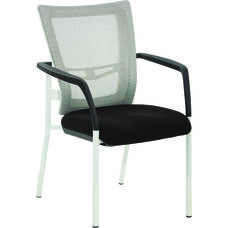 Pro-Line II ProGrid Mesh Back Visitors Chair with Padded Seat and White Finish Frame - Black