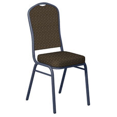 Embroidered Mission Black Gold Fabric Upholstered Crown Back Banquet Chair - Silver Vein Frame
