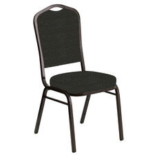 Embroidered Crown Back Banquet Chair in Cobblestone Pewter Fabric - Gold Vein Frame