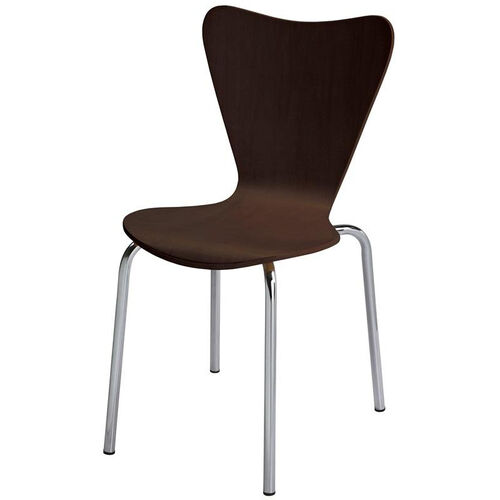 3800 Series Bentwood Stacking Armless Cafe Chair with Chrome Frame - Espresso